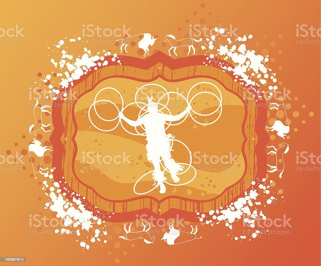 Native Hoop Dancer on Grunge Background royalty-free stock vector art
