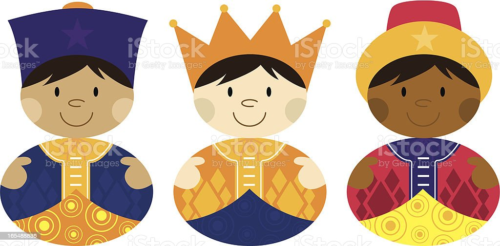 Nativity 3 Kings from Orient Far royalty-free stock vector art