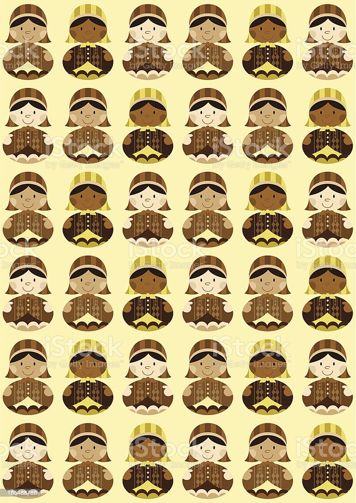 Nativity 3 Shepherds Repeat Pattern royalty-free stock vector art