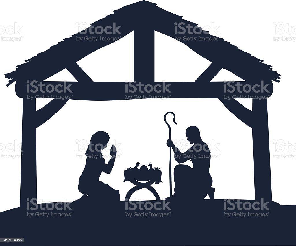 Nativity Christmas Scene Silhouettes vector art illustration