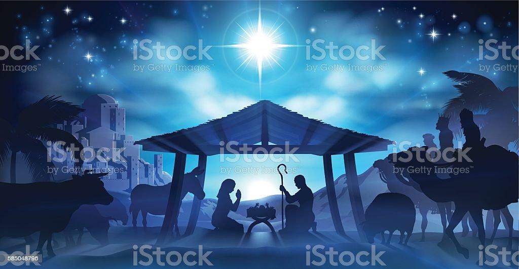 Nativity Christmas Scene vector art illustration