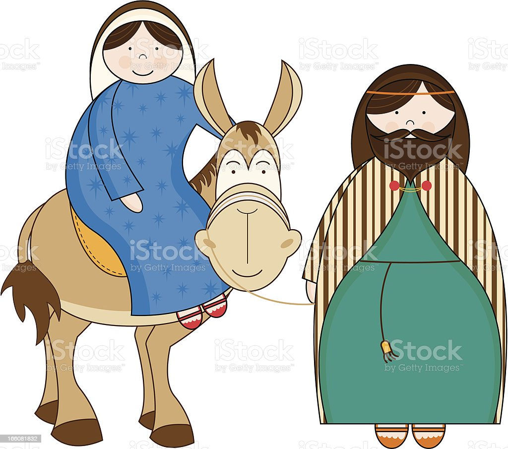 Nativity Joseph and Mary riding a mule. royalty-free stock vector art