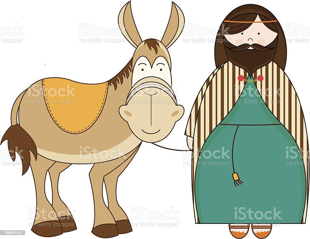 Nativity Joseph & his Mule royalty-free stock vector art