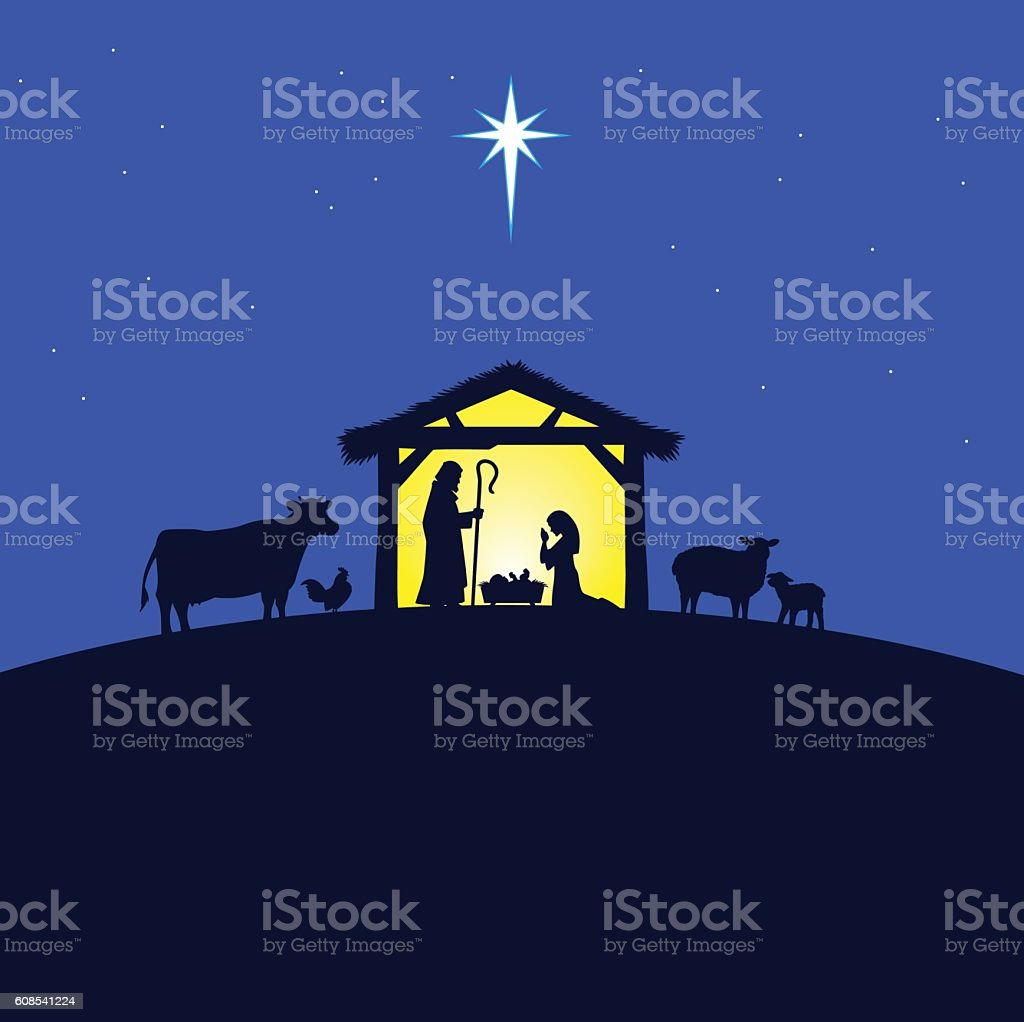 Nativity Manger vector art illustration