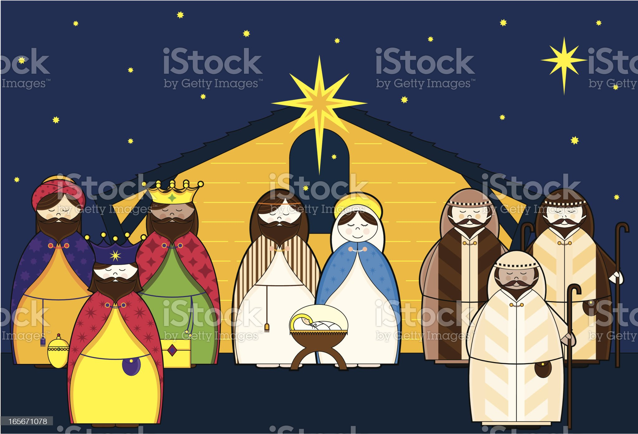 Nativity Night Scene with Characters royalty-free stock vector art