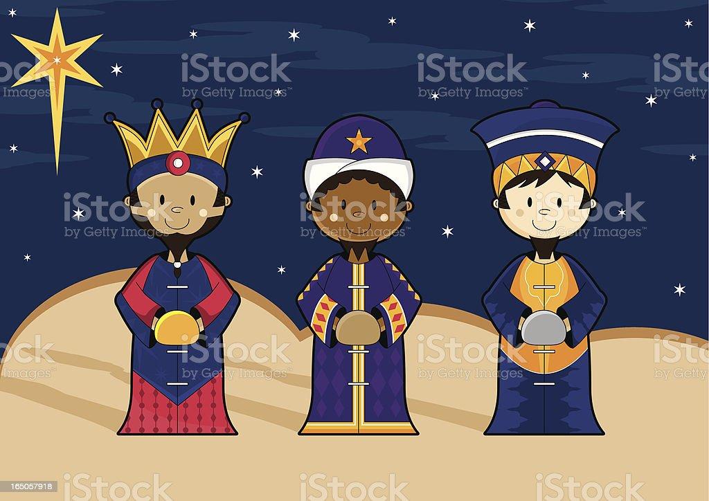 Nativity Scene 3 Kings from Orient Far royalty-free stock vector art