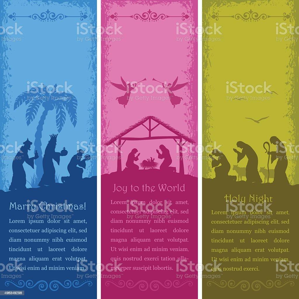 Nativity Scene Banners vector art illustration