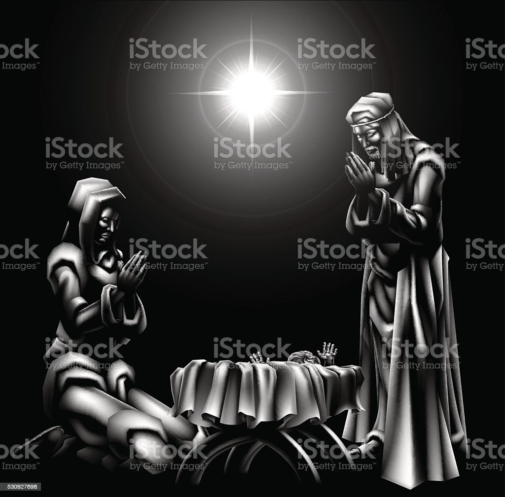Nativity Scene Christmas vector art illustration