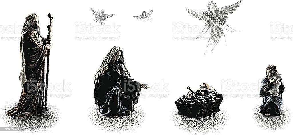 Nativity Scene Design Elements vector art illustration