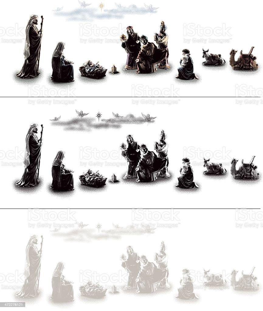 Nativity Scene Design Elements royalty-free stock vector art