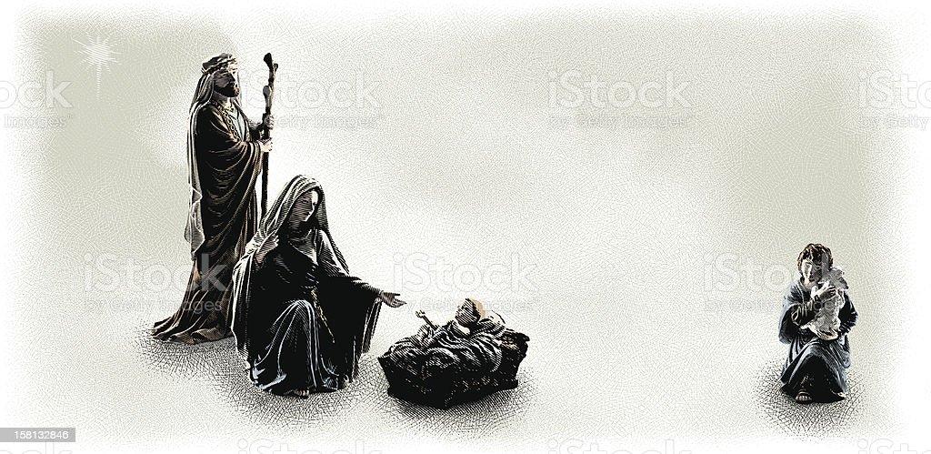 Nativity Scene Engraving vector art illustration