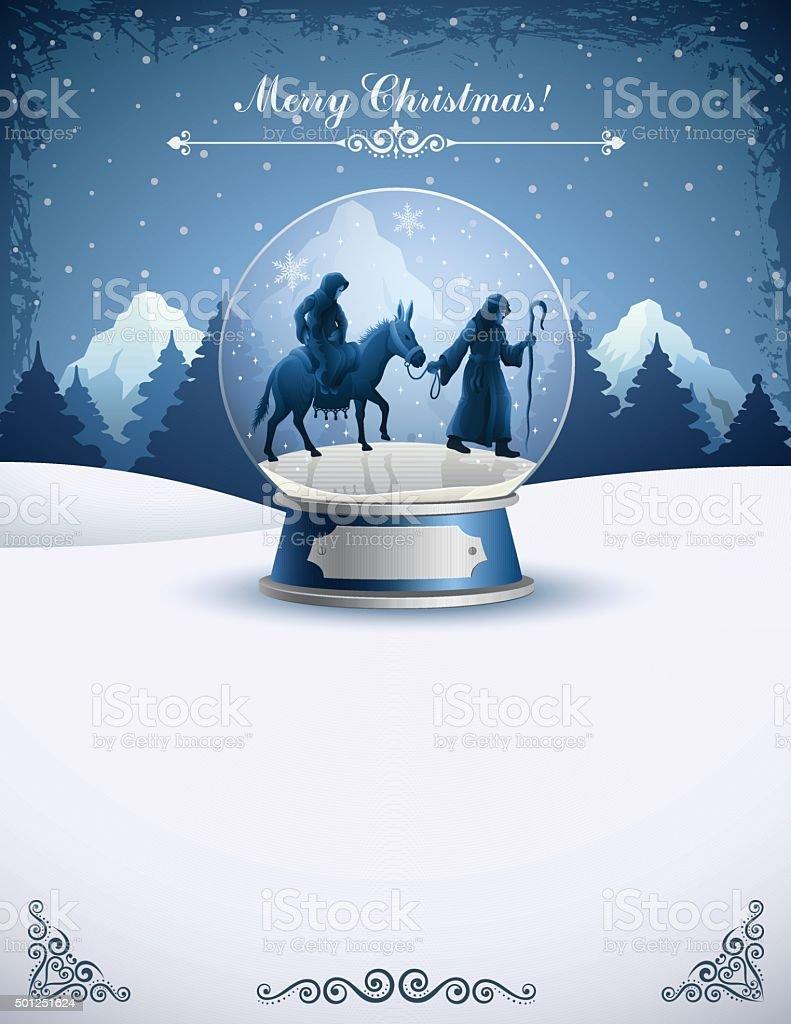 Nativity Scene in a snow globe vector art illustration