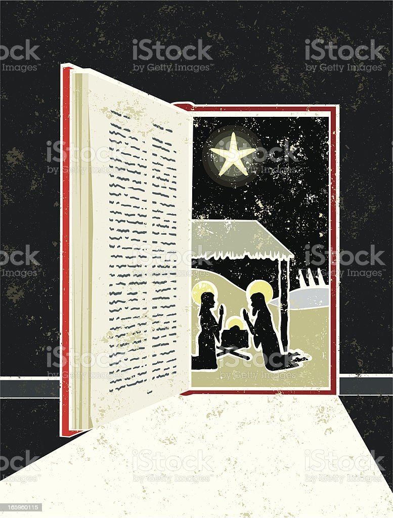 Nativity Scene in Bible Book Doorway vector art illustration