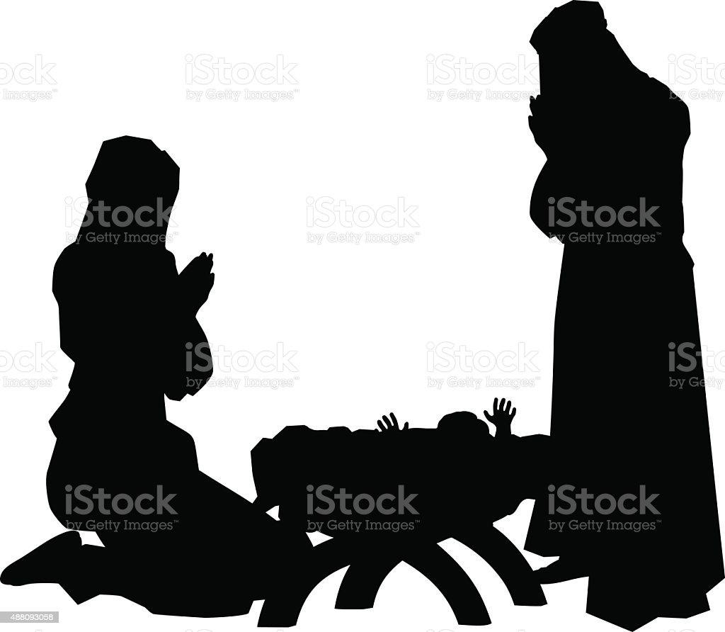 Nativity Scene Silhouettes vector art illustration