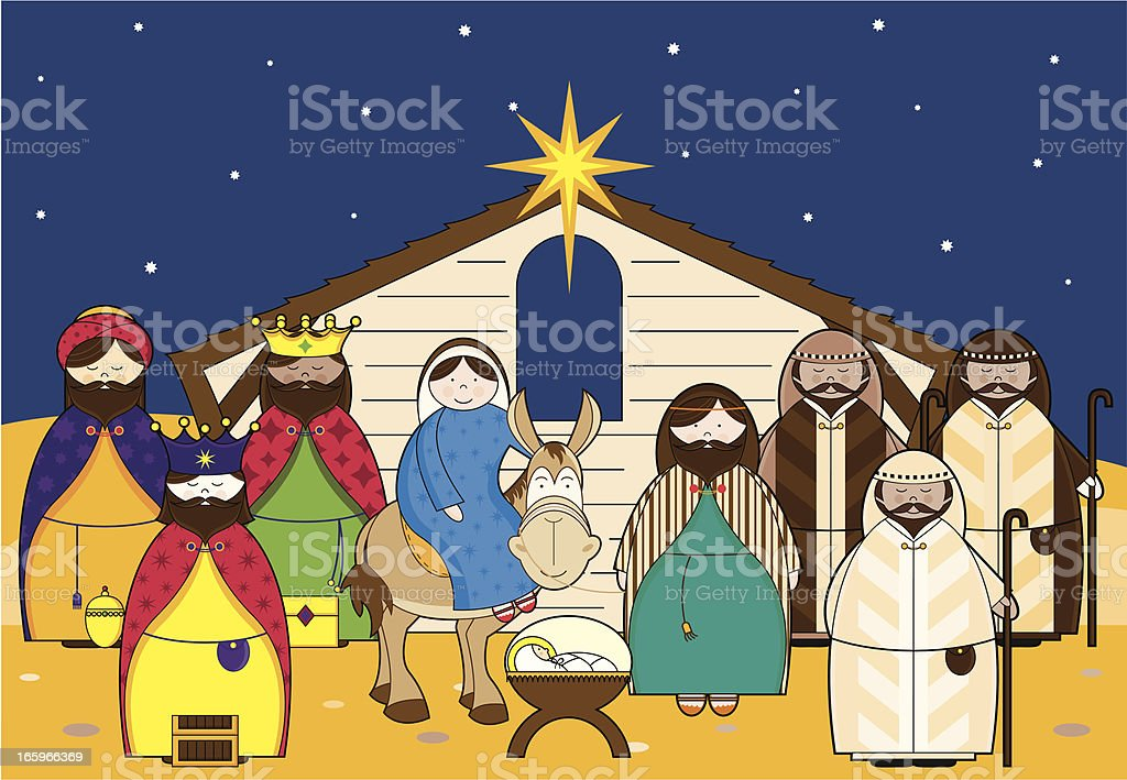 Nativity Scene with Characters Icons vector art illustration
