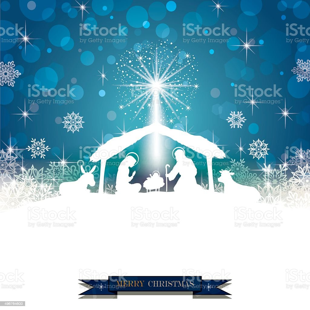 Nativity silhouette White vector art illustration