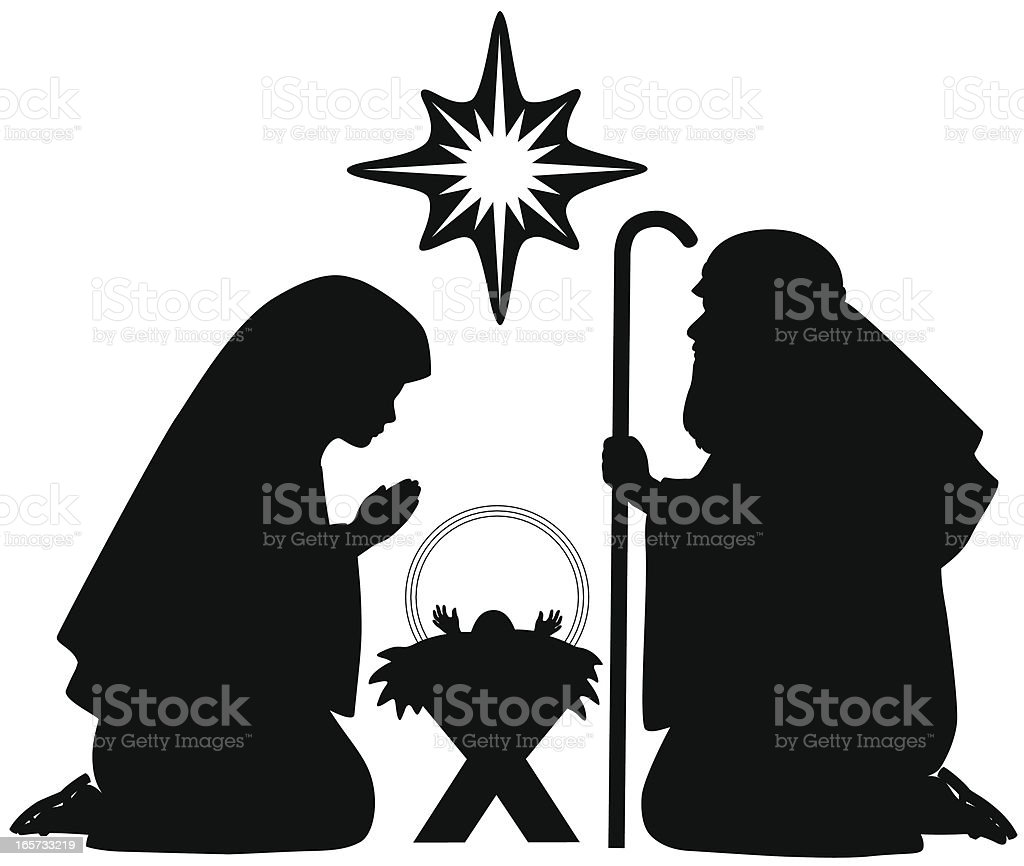 Nativity Silhouettes vector art illustration