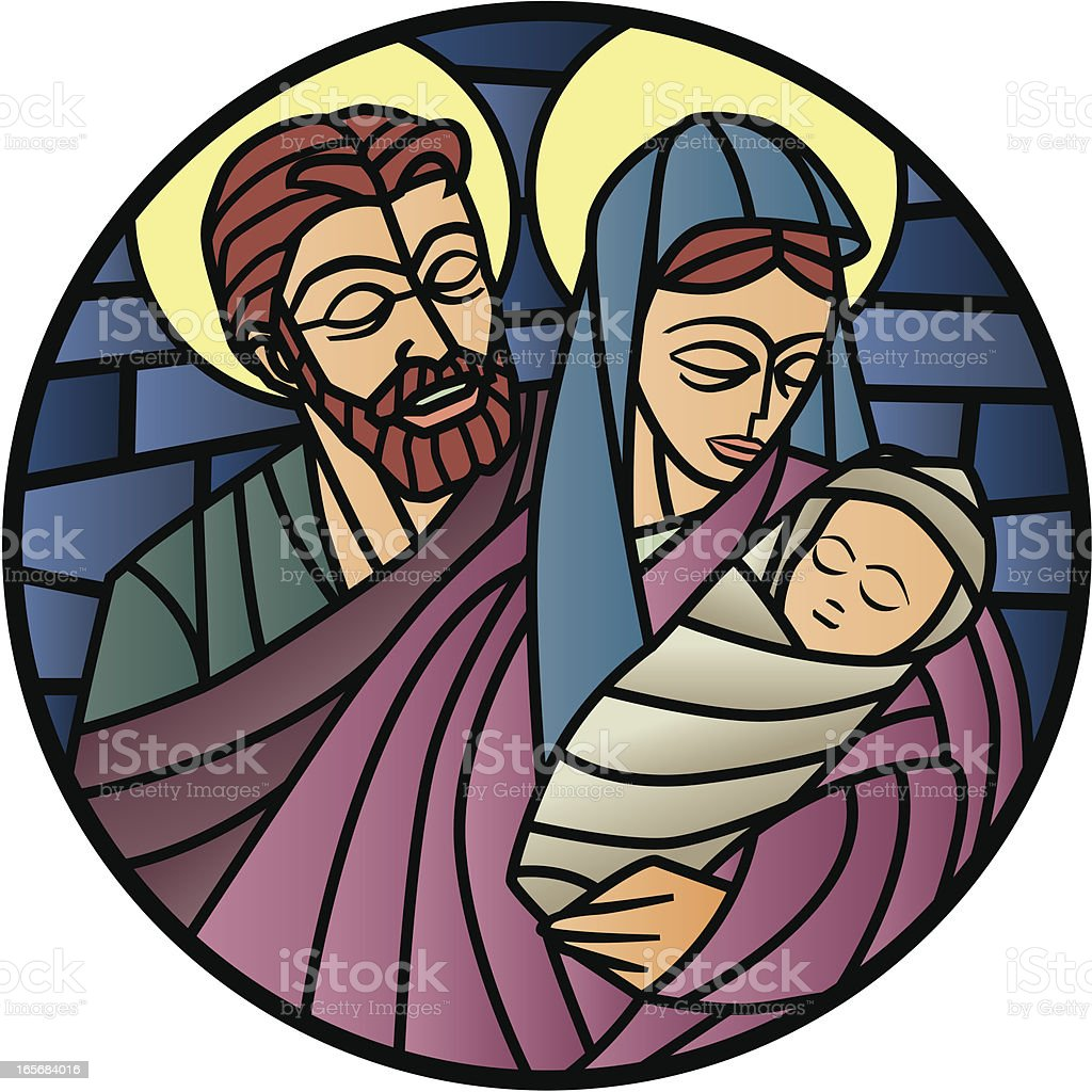 Nativity stainled glass royalty-free stock vector art