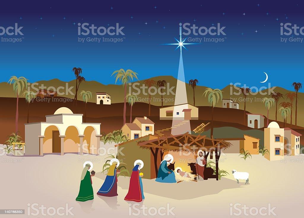 nativity village - christmas scene and magi vector art illustration
