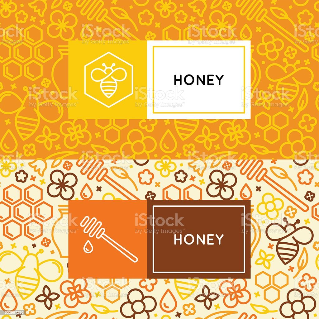 Natural and farm honey packaging vector art illustration
