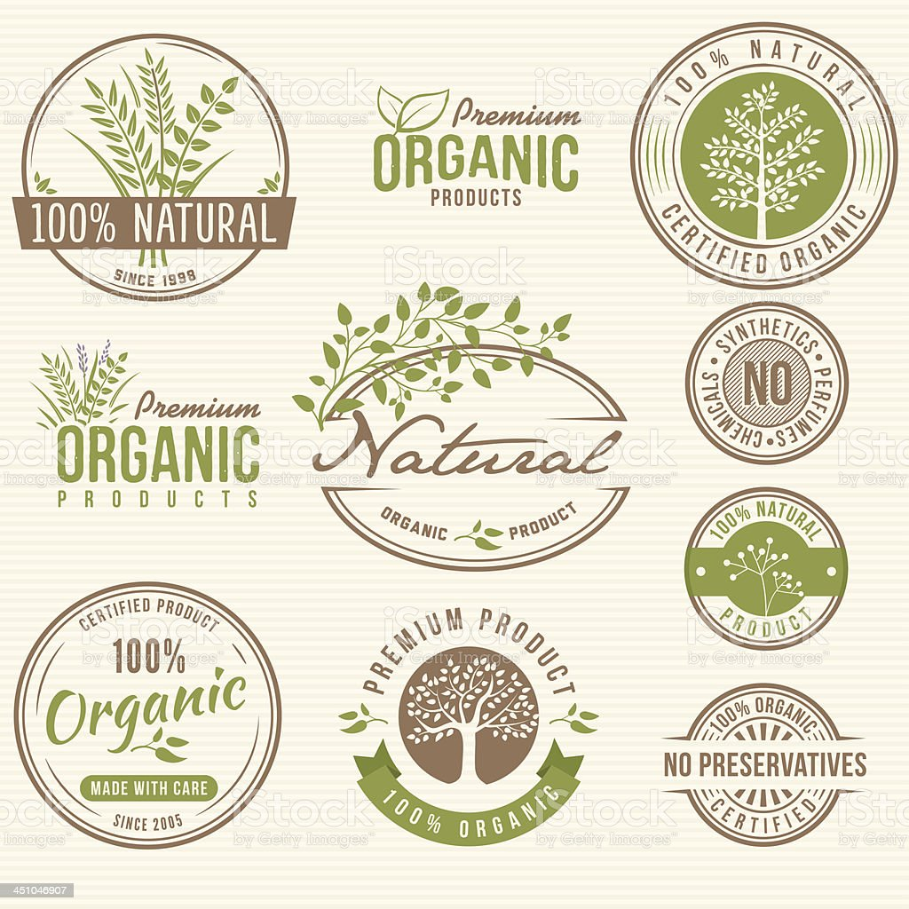 Natural and Organic Product Labels vector art illustration