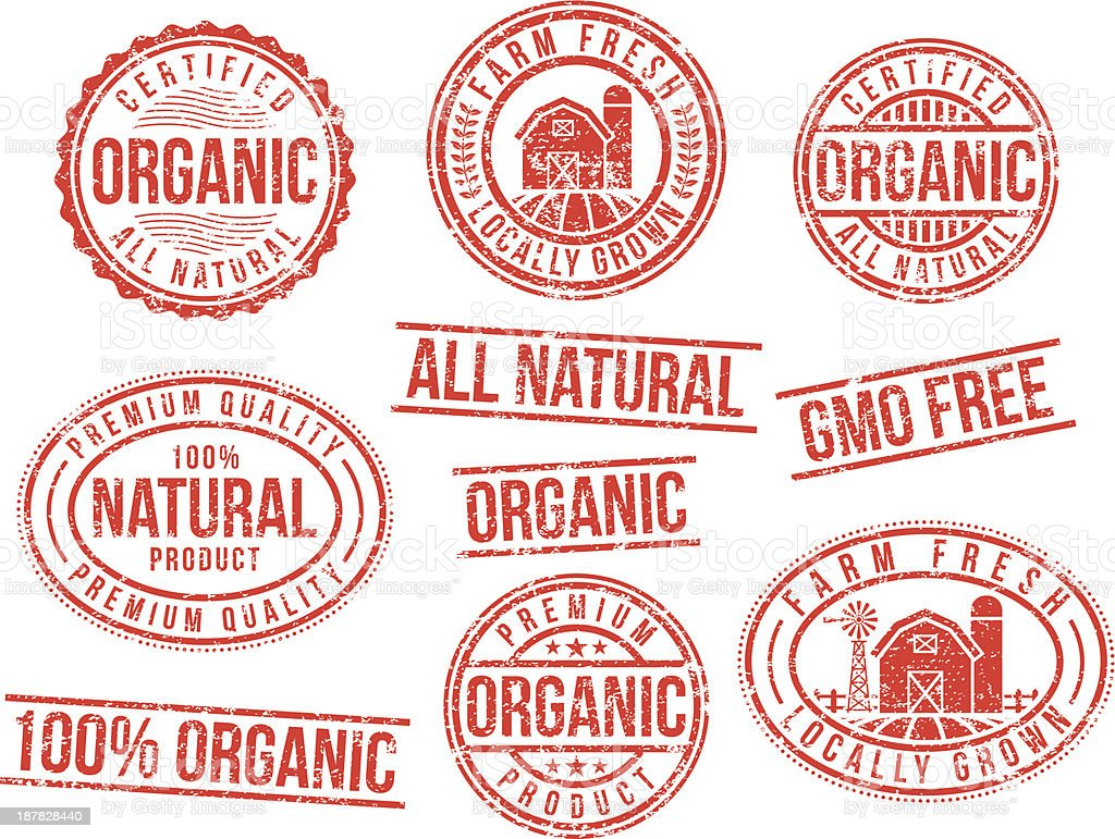 Natural and organic - rubber stamps vector art illustration