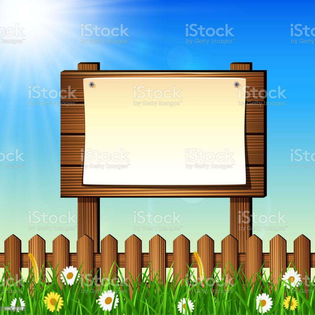 Natural background with green grass and wooden sign vector art illustration