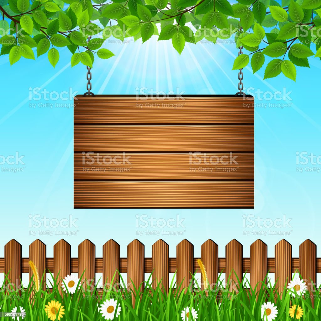 Natural background with leaves and wooden sign vector art illustration