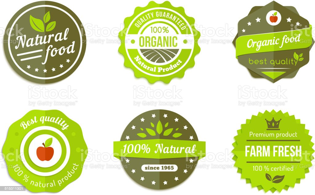 natural badges vector art illustration