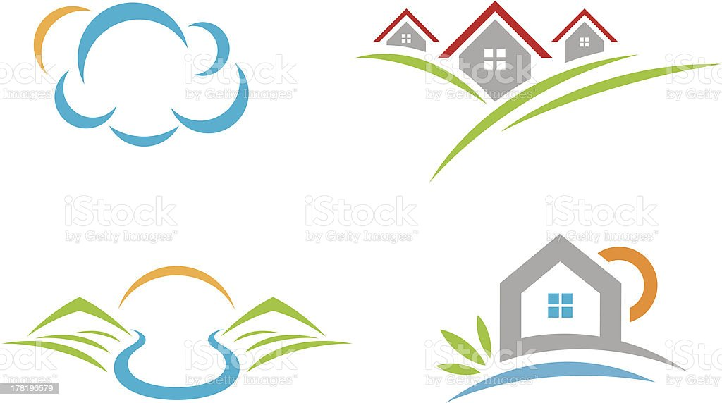 Natural beauty landscape logo social community and village life vector art illustration
