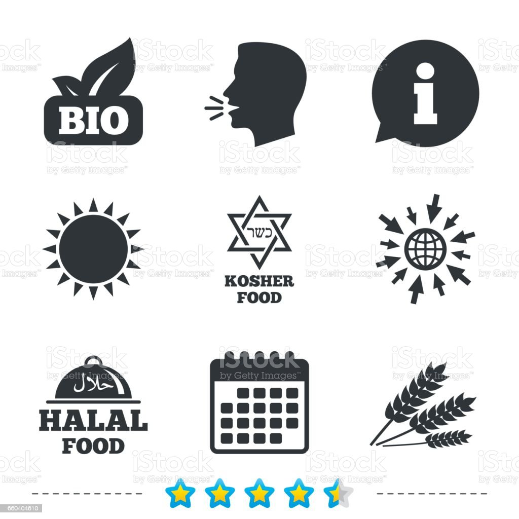 Natural Bio food icons. Halal and Kosher signs. vector art illustration