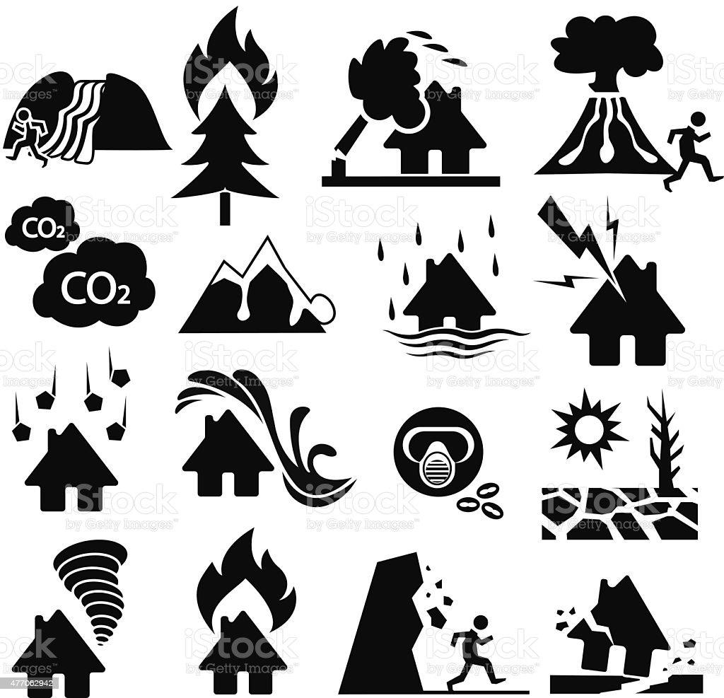 natural disaster icon set vector art illustration