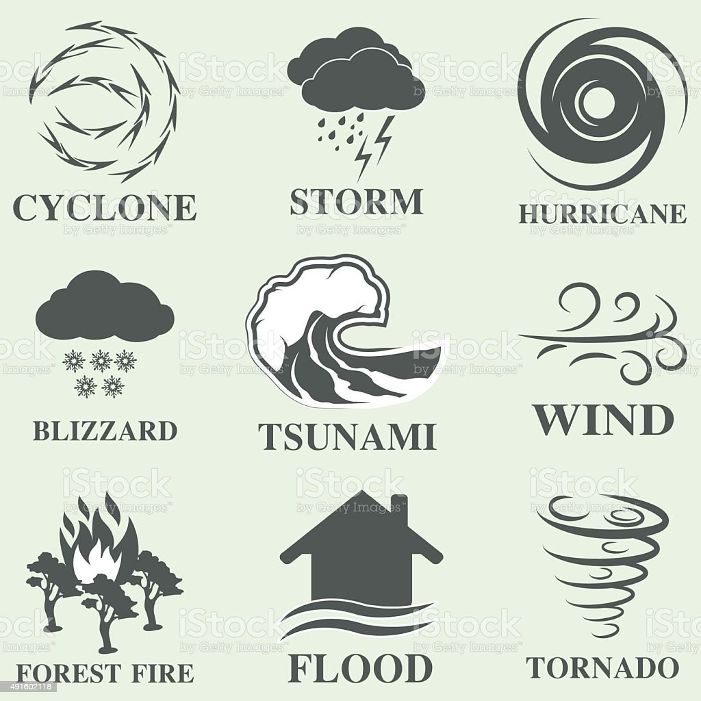 Natural disaster icons set vector art illustration