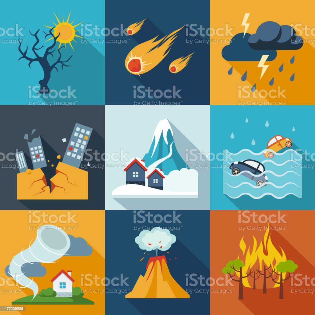 Natural Disaster Icons vector art illustration