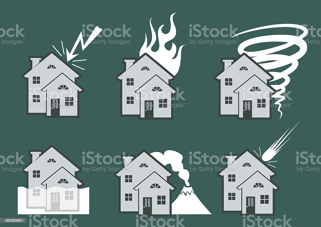Natural Disaster Icons royalty-free stock vector art