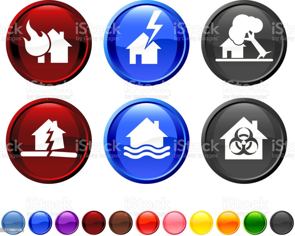 natural disaster icon set vector art illustration