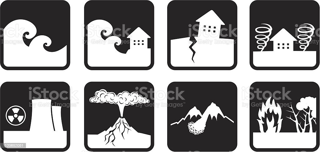 Natural disasters and catastrophes icon vector art illustration