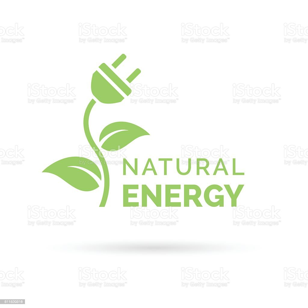 Natural energy icon with electric plug, plant and leaf symbol vector art illustration
