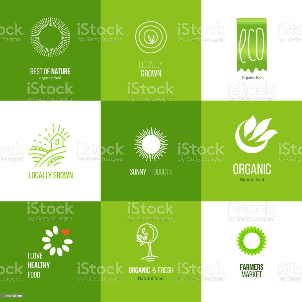 Natural food logo set vector art illustration