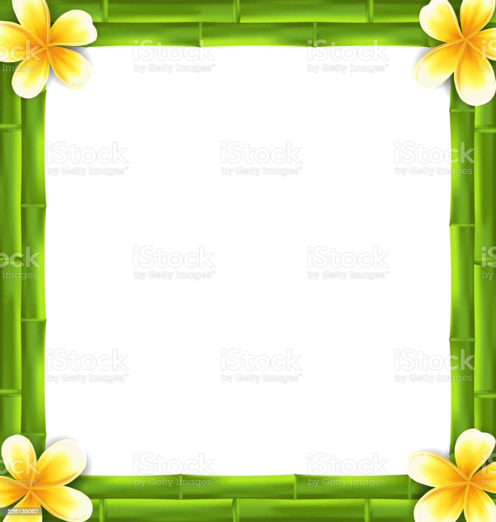 Natural Frame Made Bamboo and Frangipani Flowers, Copy Space vector art illustration