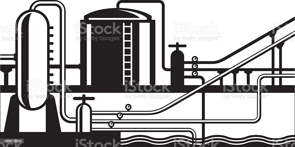 Natural gas and oil hub on pipeline vector art illustration