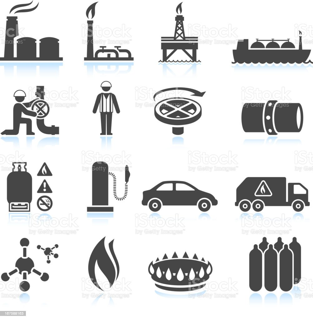 Natural Gas black & white royalty free vector icon set royalty-free stock vector art