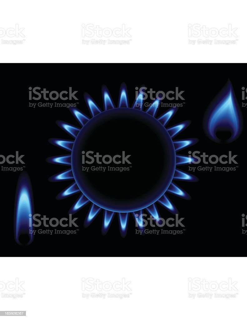 Natural Gas Flame Set vector art illustration
