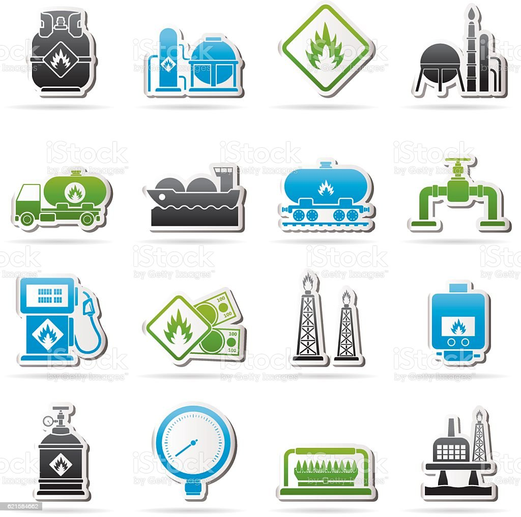Natural gas fuel and energy industry icons vector art illustration