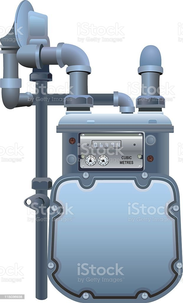 Natural Gas Meter With Copy Space on the Front vector art illustration