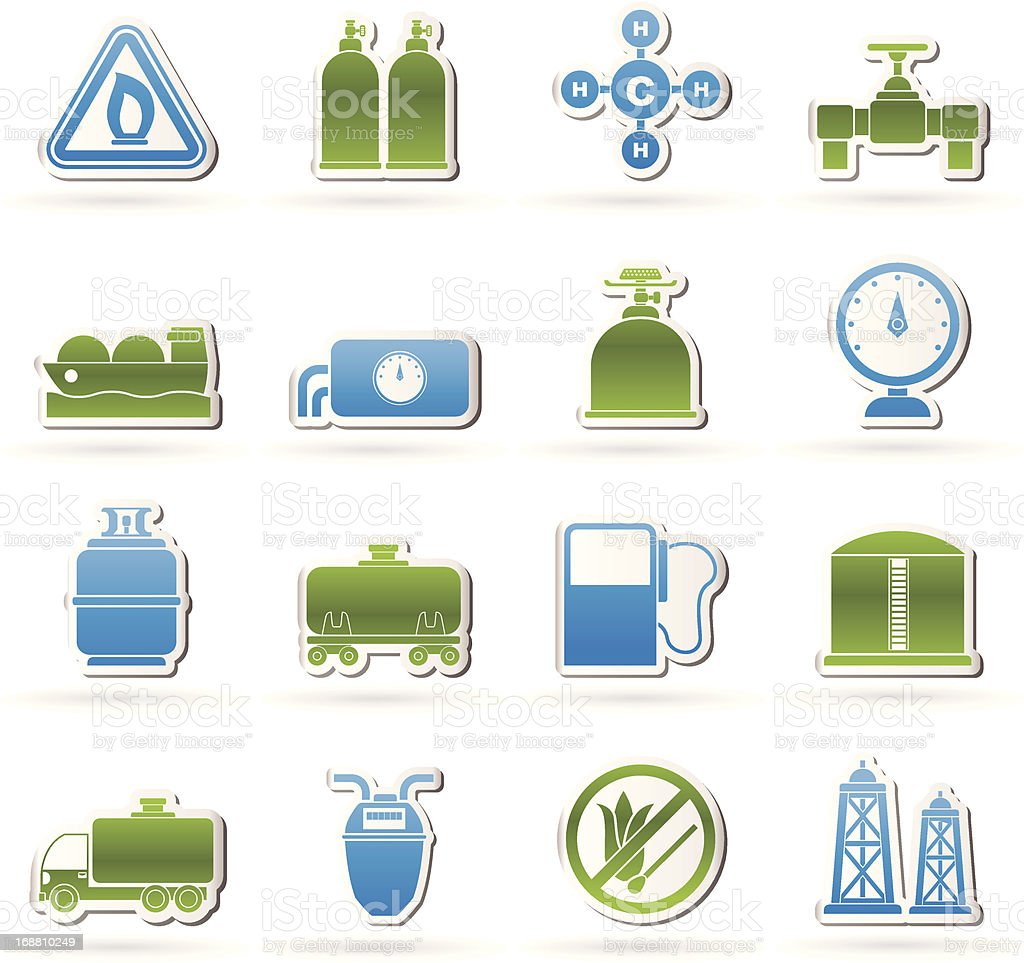Natural gas objects and icons royalty-free stock vector art