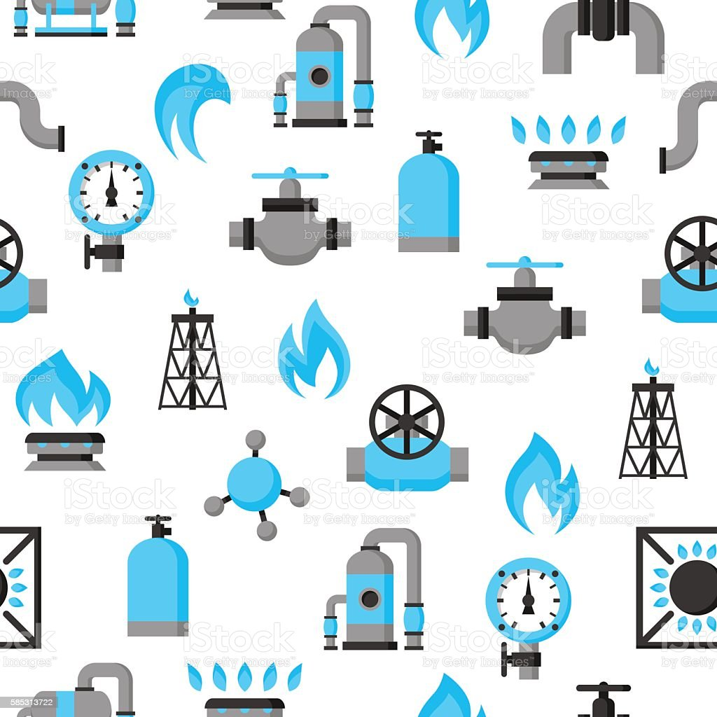 Natural gas production, injection and storage. Industrial seamless pattern vector art illustration