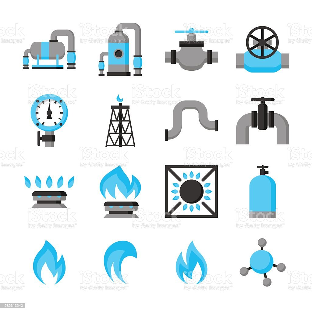 Natural gas production, injection and storage. Set of objects vector art illustration