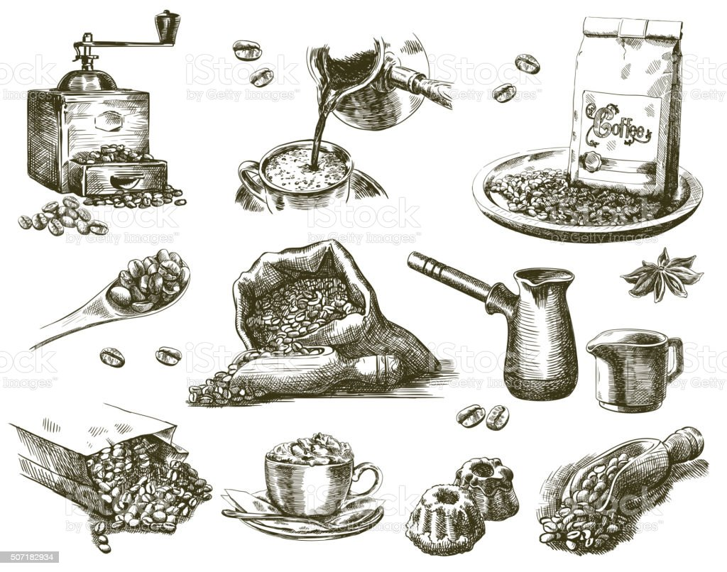 natural grain coffee vector art illustration