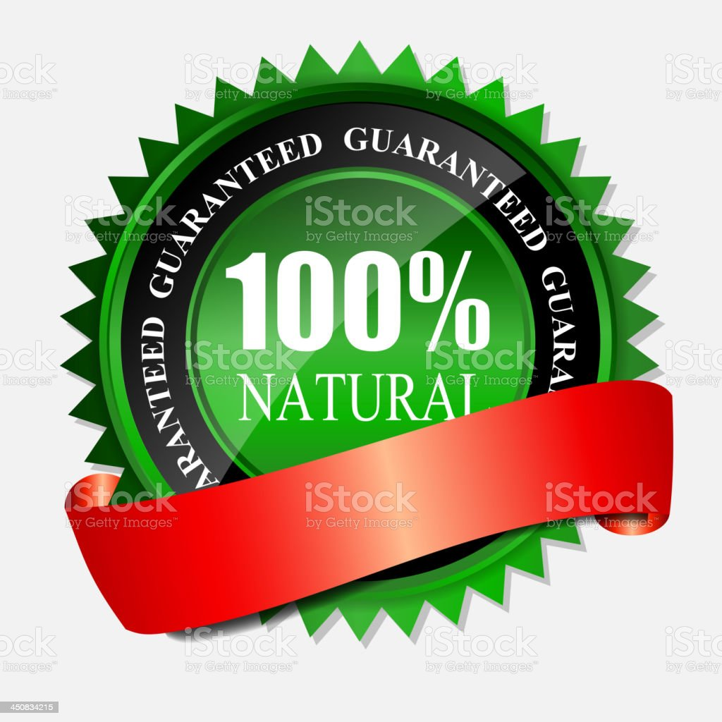 100% natural green label isolated on gray.vector illustration royalty-free stock vector art
